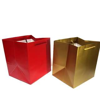 (L) Square Paper Carrier Bag, Rope Handled  ↪ Metallic Laminated Color 🛍🛍  💱 $2.90 Each Piece