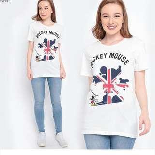 KAOS KARAKTER DISNEY MICKEY MINNIE - WHITE FLAG - ORIGINAL MERCHANDISE JAPAN - KAOS SOUVENIR LONDON