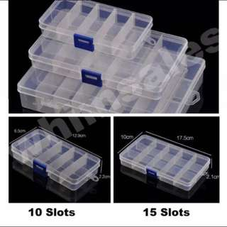 Adjustable slots transparent storage beads box