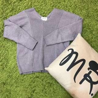 薰衣草紫針織上衣
