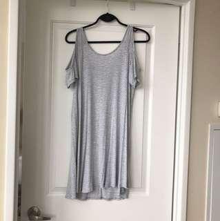 Grey and white striped tshirt dress