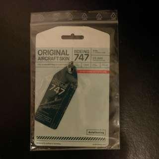 前國泰航空波音747-400 B-HUI 金屬外殼行李牌 ex-Cathay Pacific Boeing 747-400 original aircraft skin tag