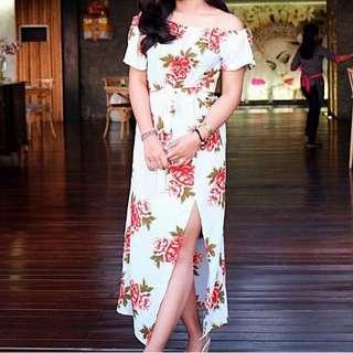 Sabrina Long dress floral in tosca