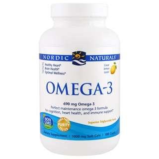 Nordic Naturals, Omega-3, Lemon, 1,000 mg, 180 Soft Gels
