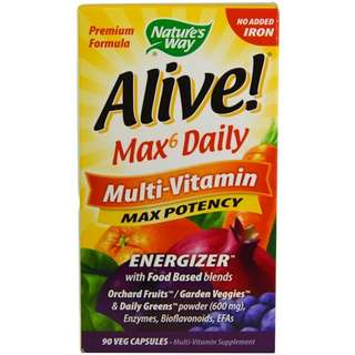 Nature's Way, Alive! Max6 Dailiy, Multi-Vitamin, Max Potency, 90 Veggie Caps