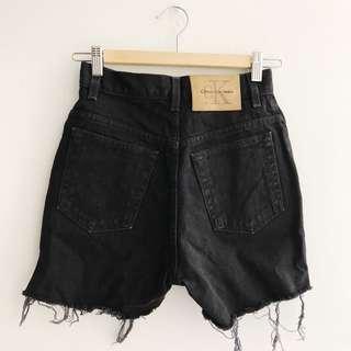 Vintage Calvin Klein Black Denim High Waisted Shorts