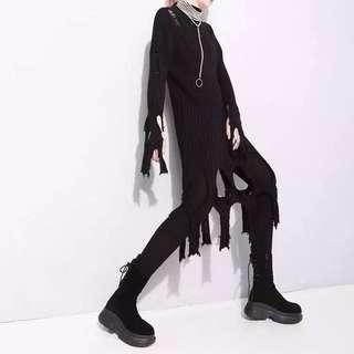 🚚 【黑店】暗黑系 訂製款 長版不規則破壞撕破高領針織毛衣