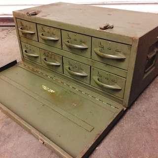 美軍老手提鐵箱/盒中盒