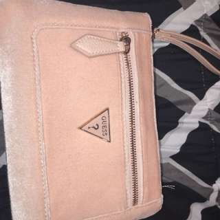 Guess pink suede clutch