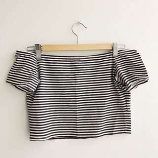 Cropped, Off the Shoulder Striped Top