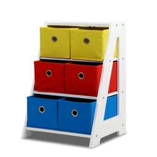 Removable Fabric Multi-bin Toy Box - 6 Bins SKU: FURNI-E-TOY-6BIN