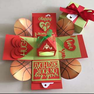 Basketball explosion box with lighthouses & 4 personalised photos in red & green