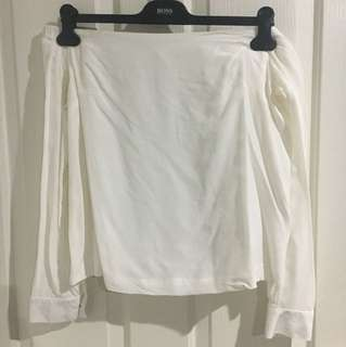 Kookai Off-White off the shoulder silk top