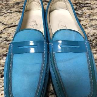 Authentic Tod's Leather & Canvas Loafers Shoes Women's Size 7