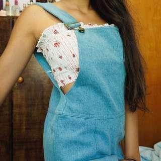 Denim pinafore overalls skirt