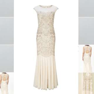 Miss Selfridge beaded/ sequin dress (cream)