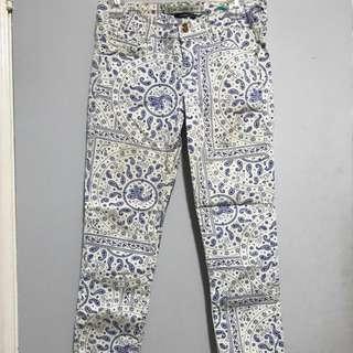 Zara White & Blue Patterned Pants