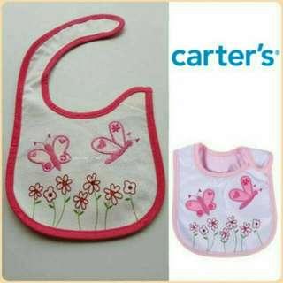 Carter's Bib w Velcro Flowers & Butterflies 0m-1t