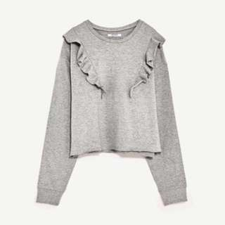 Zara TRF Cropped Sweatshirt With Frills