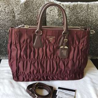Authentic Prada Tessuto Gaufre BL0743 in Bordeaux Shopping Crossbody Bag