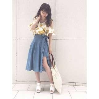 🚚 日本正品 dazzlin 精緻刺繡綁帶褲裙 中長裙 開衩 一片裙 牛仔 單寧風