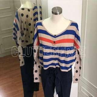 XSML cropped cardigan Stripes and polka dot