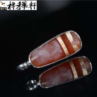 【線珠】藏傳千年鑲蝕紅玉髓純銀鑲嵌天珠吊墜