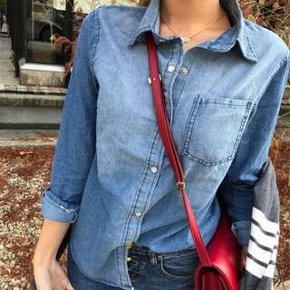 歐美zara韓版修身顯瘦 丹寧漸層牛仔刷色襯衫 穿過一次近全新