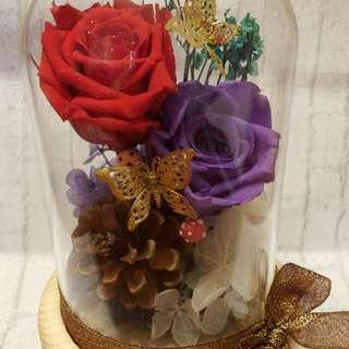 9折 Valentine Day 情人節 Love Day Gift Preserved Flower 保鮮花 romantic purple red Rose 浪漫 玫瑰 一雙一對  保存2-3年 Handmade