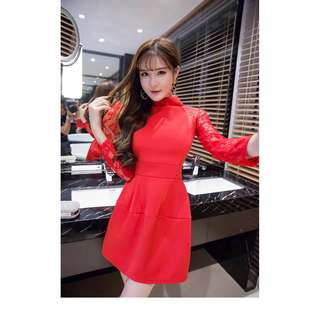 S-2XL (PREORDER) Laced Sleeved Dress