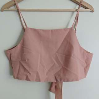 Light Pink Crop Top Tie Back