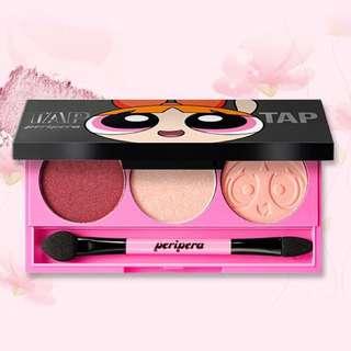 ❤️現貨❤️[PERIPERA] Clio Tap Tap 3 Eyes (Powerpuff Girls Edition) Eye Shadow  3色 飛天小女警聯名 花花 酒紅眼影盤 - 5g