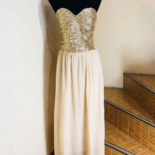 Pre loved - Beige gold long gown