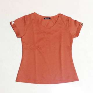 (NEW) Orange V-neck Top