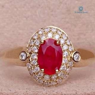 18K 黃金 無燒紅寶石鑽石戒指