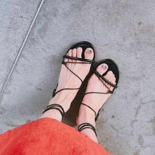 正韓 羅馬綁帶平底涼鞋