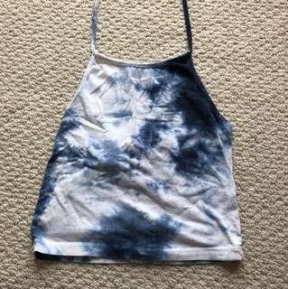 Brandy Melville Blue Tie-Dye Halter