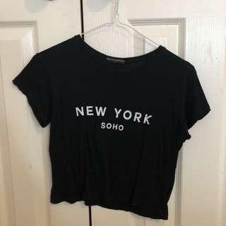 Brandy Melville Black New York Soho Crop