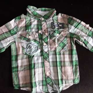 Guess Green Checkered Long Sleeves (for 18 months old boys)