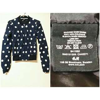 H&M牌子原宿復古英倫風深藍色點點圖案顯瘦棒球外套