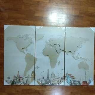 World Map Famous Landmark House Room Decor Canvas