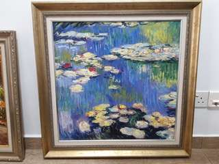 Oil Painting with frame Water Lily