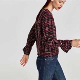 Zara珍珠袖釦花呢上衣 小香風 毛呢 長袖上衣 造型上衣(S)
