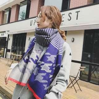Korea scarf 韓國湖水綠灰色橙邊大千鳥格間條圍巾