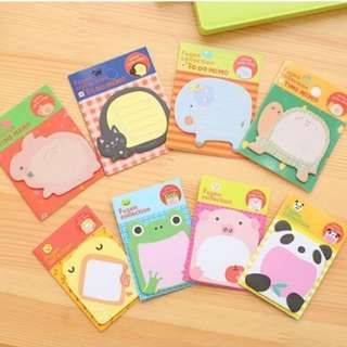 (5 free 1)Animal Post It Note