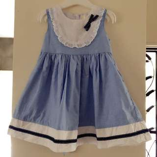 Little Girl Blue dress with ribbon