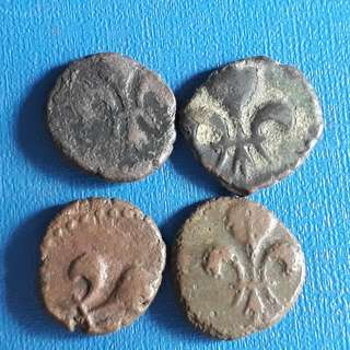 4 COINS LOT - FRENCH INDIA - Puducherry - Copper DouDou - Lily Flower (1720-1835)