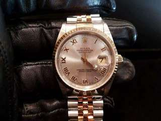 PREOWNED ROLEX Datejust, 16233 Yellow Rolesor, 18Ct Half Yellow Gold Steel, 36mm, Men-size, T Series @ Year 1996 Mens Watch
