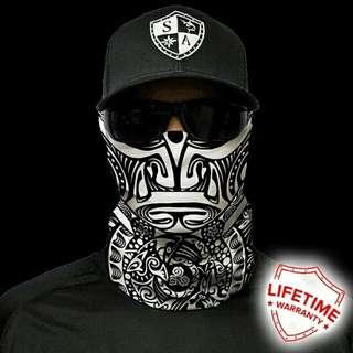 SA Co. Face Shield: Polynesian - Black-White