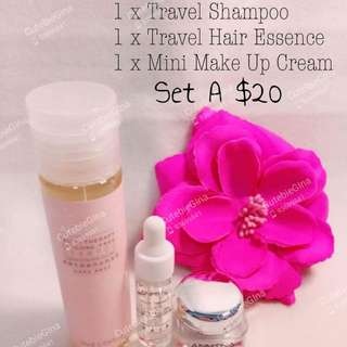 Travel Shampoo + Hair essence + mini makeup cream